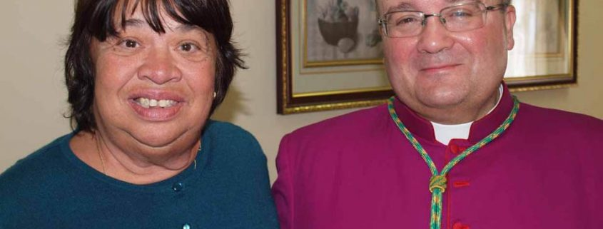 Archbishop Charles J. Scicluna with Tessie a resident of Id-Dar tal-Providenza